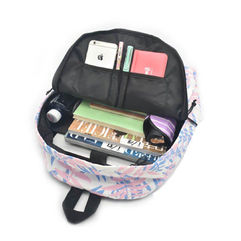 colorful nylon backpack inside